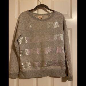 Fun gray sweatshirt.